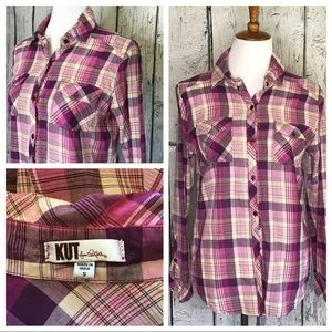 Kut from the kloth plaid button down shirt